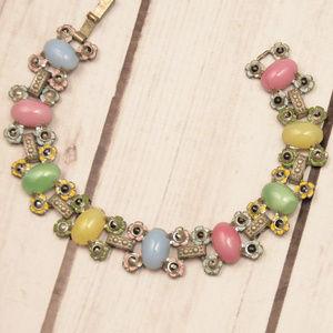 vtg pastel candy lucite cab floral flower bracelet